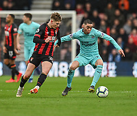 Bournemouth's David Brooks (left) battles with  Newcastle United's Miguel Almiron (right) <br /> <br /> Photographer David Horton/CameraSport<br /> <br /> The Premier League - Bournemouth v Newcastle United - Saturday 16th March 2019 - Vitality Stadium - Bournemouth<br /> <br /> World Copyright © 2019 CameraSport. All rights reserved. 43 Linden Ave. Countesthorpe. Leicester. England. LE8 5PG - Tel: +44 (0) 116 277 4147 - admin@camerasport.com - www.camerasport.com