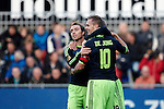 Nederland, Zwolle, 11 november  2012.Eredivisie.Seizoen 2012-2013.PEC-Zwolle-Ajax.Siem de Jong, aanvoerder van Ajax en Christian Eriksen van Ajax juichen na het scoren van de 0-4.