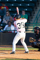 Evan Van Hoosier (36) of the Hickory Crawdads at bat against the Augusta GreenJackets at L.P. Frans Stadium on May 11, 2014 in Hickory, North Carolina.  The GreenJackets defeated the Crawdads 9-4.  (Brian Westerholt/Four Seam Images)