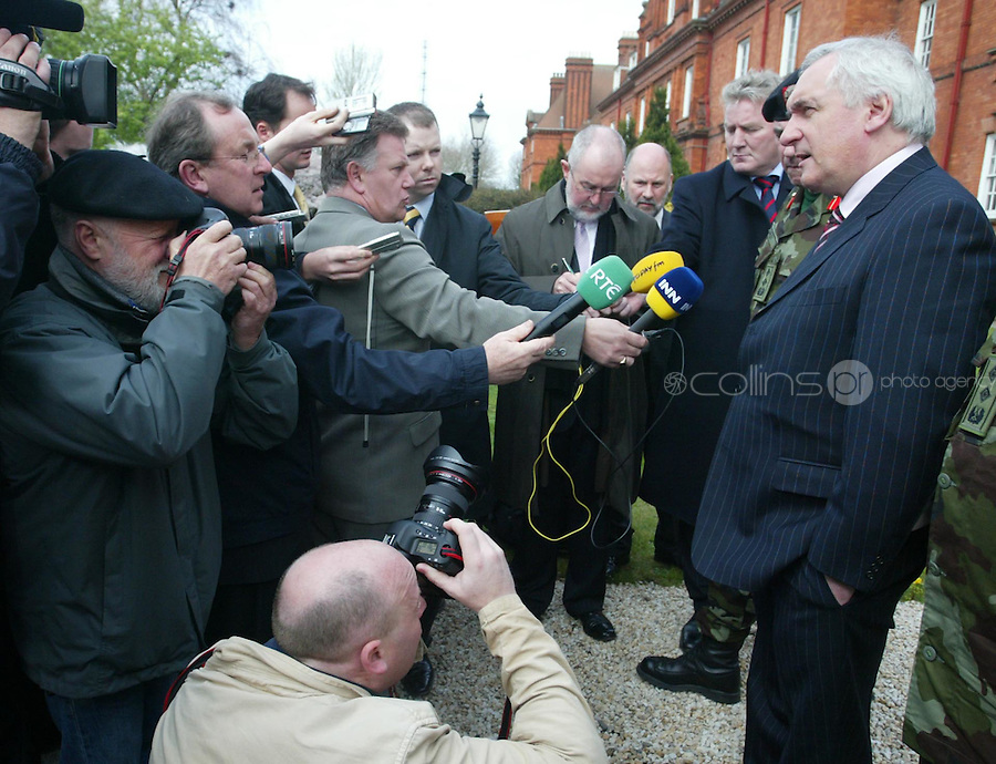 04/04/2008.An Taoiseach Bertie Ahern, TD speaking to media after  meeting with Lieutenant General Pat Nash, the Operational Commander of EUFOR Chad Mission at McKee Barracks, Blackhorse Ave, Dublin..Photo: Gareth Chaney Collins.