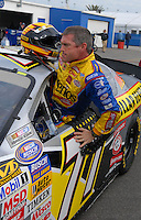Feb 15, 2007; Daytona, FL, USA; Nascar Busch Series driver Bobby Labonte (77) climbs out of his car after crashing during practice for the Orbitz 300 at Daytona International Speedway. Mandatory Credit: Mark J. Rebilas