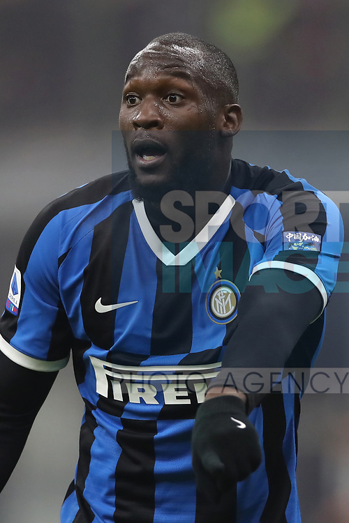 Romelu Lukaku of Inter reacts during the Serie A match at Giuseppe Meazza, Milan. Picture date: 9th February 2020. Picture credit should read: Jonathan Moscrop/Sportimage
