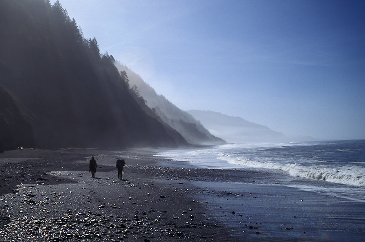 Backpackers on the Lost Coast, Humboldt County, California