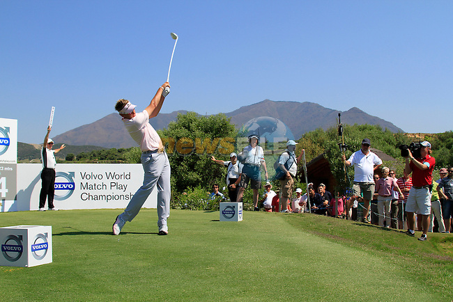 Ian Poulter (ENG) tees off on the 14th tee during the morning Semi-Final session on the Final Day of the Volvo World Match Play Championship in Finca Cortesin, Casares, Spain, 22nd May 2011. (Photo Eoin Clarke/Golffile 2011)