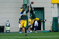 Green Bay Packers safety Morgan Burnett (42) leaps to break up a pass intended for tight end Martellus Bennett (80) during a training camp practice on August 29, 2017 at Ray Nitschke Field in Green Bay, Wisconsin.   (Brad Krause/Krause Sports Photography)