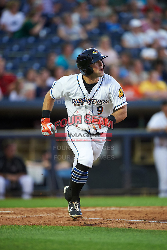 Akron RubberDucks third baseman Joe Sever (9) runs to first base during a game against the Richmond Flying Squirrels on July 26, 2016 at Canal Park in Akron, Ohio .  Richmond defeated Akron 10-4.  (Mike Janes/Four Seam Images)