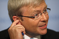 Australian Prime Minister Kevin Rudd addresses the media outside the security council at UN Headquarters in New York. Australia is attempting to gain a seat on the Security Council at the next round of nominations. September 2009 . Trevor Collens / Photoshot