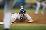 Chase Headley (Yankees),<br /> AUGUST 7, 2015 - MLB :<br /> Chase Headley of the New York Yankees steals third base during the Major League Baseball game against the Toronto Blue Jays at Yankee Stadium in the Bronx, New York, United States. (Photo by Thomas Anderson/AFLO) (JAPANESE NEWSPAPER OUT)