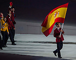Spain's flag bearer, figure skater Javier Fernandez leads his national delegation during the Opening Ceremony of the 2014 Sochi Olympic Winter Games at Fisht Olympic Stadium on February 7, 2014 in Sochi, Russia. Photo by Victor Fraile / Power Sport Images