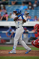 Buffalo Bisons center fielder Anthony Alford (7) takes a practice swing during a game against the Syracuse Chiefs on September 2, 2018 at NBT Bank Stadium in Syracuse, New York.  Syracuse defeated Buffalo 4-3.  (Mike Janes/Four Seam Images)