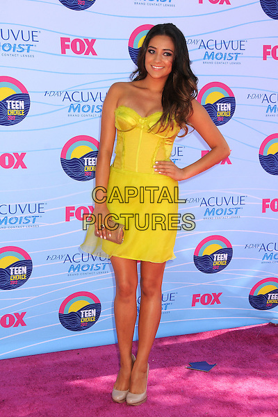 Shay Mitchell.FOX's 2012 Teen Choice Awards held at The Gibson Ampitheatre in Universal City, California, USA..July 22nd, 2012.full length yellow strapless corset dress hand on hip.CAP/ADM/BP.©Byron Purvis/AdMedia/Capital Pictures.