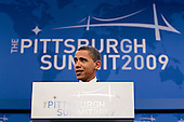Pittsburgh, PA - September 25, 2009 -- United States President Barack Obama speaks during a news conference following day two of the Group of 20 summit in Pittsburgh, Pennsylvania, U.S., on Friday, September 25, 2009. G-20 leaders said they will crack down on risk taking by banks and better align economic policies as they turned from crisis management to delivering a new set of rules for the world economy. .Credit: Andrew Harrer / Pool via CNP