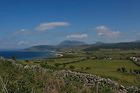 Looking across Machrie Bay to Beinn Bharrain from near The Kings Cave on the Arran Coastal Path, Arran, Ayrshire<br /> <br /> Copyright www.scottishhorizons.co.uk/Keith Fergus 2011 All Rights Reserved