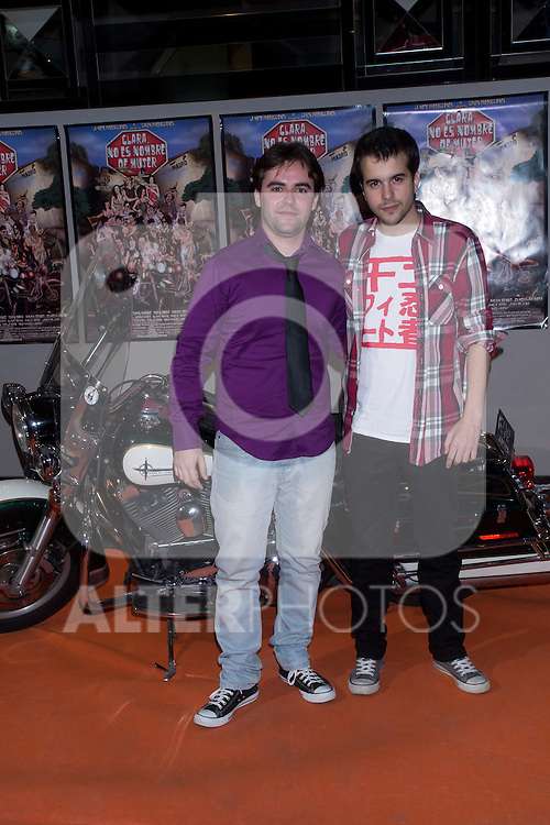 "30.05.2012. Premiere at the Callao Cinema in Madrid of the spanish movie ""Clara is not woman's name"" A comedy directed by Pepe Carbajo. In the image Gabriel Andujar and Pablo Gayo (Alterphotos/Marta Gonzalez)"