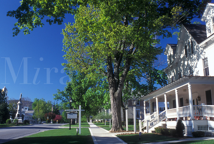 Vermont, VT, Manchester, Historic Manchester Village in the spring.