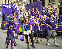 Yahoo! employees and supporters in the annual Lesbian, Gay, Bisexual and Transgender Pride Parade on Fifth Avenue in New York on Sunday, June 28, 2015. The parade was particularly boisterous due to the recent Supreme Court decision on same-sex marriage. The parade is the largest gay pride parade in the world.(© Richard B. Levine)