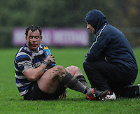 26th October 2013; Denis Buckley, Corinthians receives treatment for an injury. Ulster Bank League Division 1B, Blackrock College v Corinthians, Stradbrook Road, Dublin. Picture credit: Tommy Grealy / Actionshots.ie