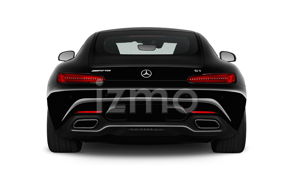Straight rear view of 2016 Mercedes Benz AMG-GT AMG-GT-S 3 Door Coupe Rear View  stock images