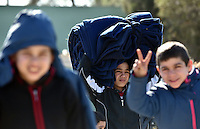Pictured: Children at the refugee camp Tuesday 23 February 2016<br /> Re: Migrants at a refugee camp in the Schisto area of Athens, Greece.