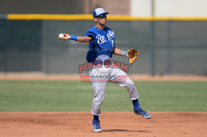 Kansas City Royals shortstop Humberto Arteaga (1) during an Instructional League game against the Texas Rangers on October 9, 2013 at Surprise Stadium Training Complex in Surprise, Arizona.  (Mike Janes/Four Seam Images)