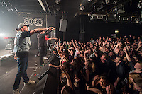 Die Hip-Hop-Gruppe Antilopen Gang aus Duesseldorf, Koeln und Berlin spielte am Samstag den 14. Maerz 2015 im ausverkauften Berliner Club SO36.<br /> Die Band besteht aus den Rappern Koljah Kolerikah (hinten), Panik Panzer (mitte) und Danger Dan (vorne) und steht beim Toten Hosen-Label JKP unter Vertrag.<br /> 14.3.2015, Berlin<br /> Copyright: Christian-Ditsch.de<br /> [Inhaltsveraendernde Manipulation des Fotos nur nach ausdruecklicher Genehmigung des Fotografen. Vereinbarungen ueber Abtretung von Persoenlichkeitsrechten/Model Release der abgebildeten Person/Personen liegen nicht vor. NO MODEL RELEASE! Nur fuer Redaktionelle Zwecke. Don't publish without copyright Christian-Ditsch.de, Veroeffentlichung nur mit Fotografennennung, sowie gegen Honorar, MwSt. und Beleg. Konto: I N G - D i B a, IBAN DE58500105175400192269, BIC INGDDEFFXXX, Kontakt: post@christian-ditsch.de<br /> Bei der Bearbeitung der Dateiinformationen darf die Urheberkennzeichnung in den EXIF- und  IPTC-Daten nicht entfernt werden, diese sind in digitalen Medien nach &sect;95c UrhG rechtlich geschuetzt. Der Urhebervermerk wird gemaess &sect;13 UrhG verlangt.]