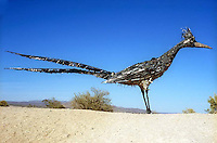 Giant Roadrunner Sculpture made out of trash and old metal in Las Cruces, NM