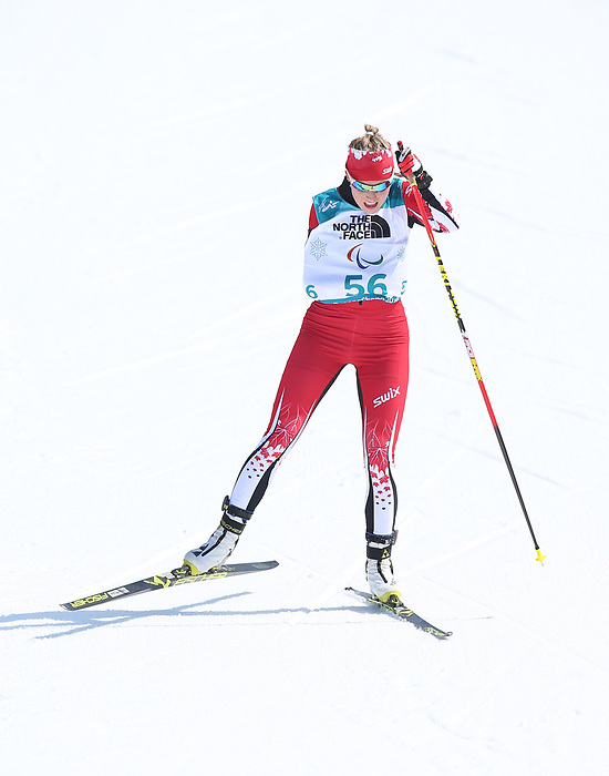Pyeongchang, Korea, 10/3/2018- Emily Young competes in the womens 6km standing event in the Biathlon at the Alpensa Biathlon Centre during the 2018 Paralympic Games in PyeongChang. Photo Scott Grant/Canadian Paralympic Committee.