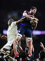 Loann Goujon of France beats Maro Itoje of England for the ball at a lineout. RBS Six Nations match between England and France on February 4, 2017 at Twickenham Stadium in London, England. Photo by: Patrick Khachfe / Onside Images