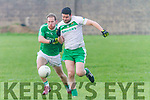 Padraig Boyle Ballyduff and Martin O'Mahony Ballydonoghue attacking the ball at the North Kerry Championship semi final played in Ballybunion on Sunday.