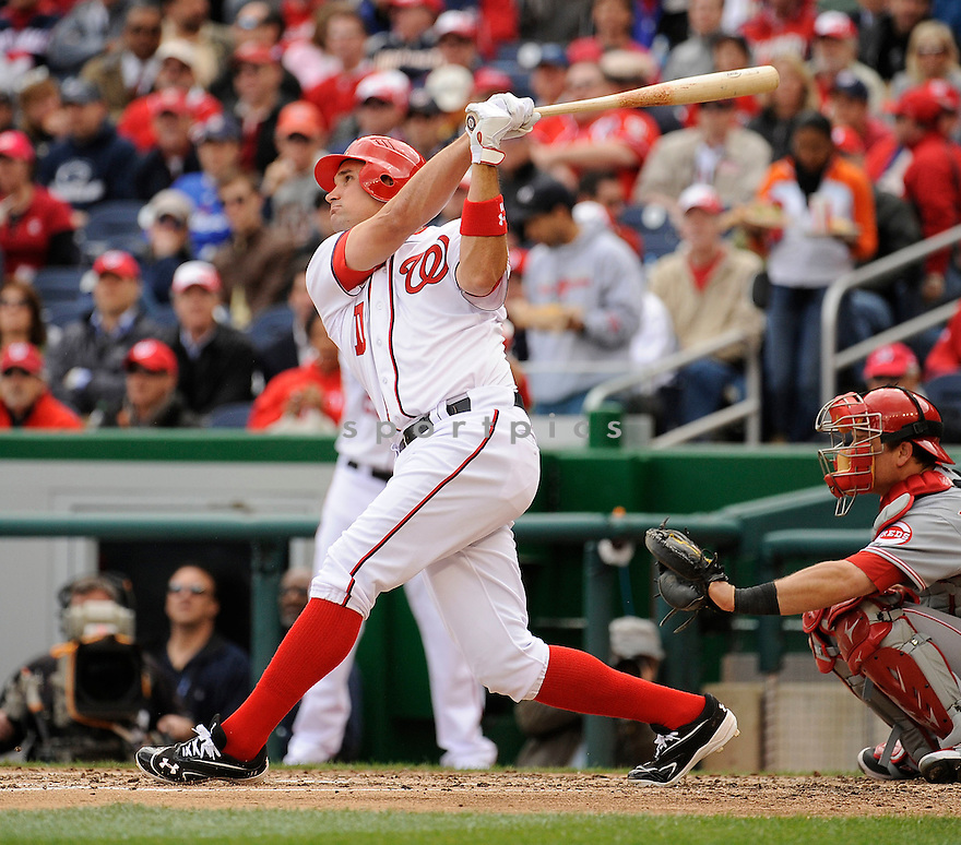 RYAN ZIMMERMAN, of the Washington Nationals, in action during the Nationals game against the Cincinnati Reds on April 12, 2012 at Nationals Park in Washington, DC. The Nationals beat the Reds 3-2.