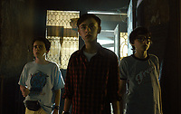 It (2017)<br /> JACK DYLAN GRAZER as Eddie Kaspbrak, JAEDEN LIEBERHER as Bill Denbrough and FINN WOLFHARD as Richie Tozier <br /> *Filmstill - Editorial Use Only*<br /> CAP/KFS<br /> Image supplied by Capital Pictures