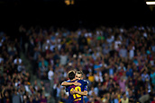 12th September 2017, Camp Nou, Barcelona, Spain; UEFA Champions League Group stage, FC Barcelona versus Juventus; Leo Messi of FC Barcelona celebrates with Jordi Alba of FC Barcelona his goal for 3-0
