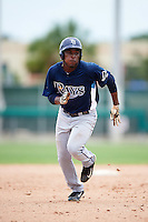 GCL Rays center fielder Jose Tonton (22) running the bases during the second game of a doubleheader against the GCL Red Sox on August 9, 2016 at JetBlue Park in Fort Myers, Florida.  GCL Rays defeated GCL Red Sox 9-1.  (Mike Janes/Four Seam Images)