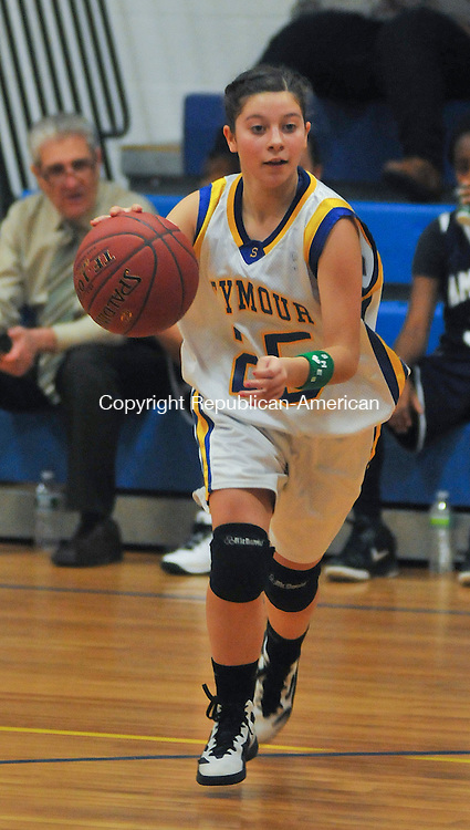 SEYMOUR, CT 21 JANUARY 2013- 012113JS08--  ACTION MAN---Seymour's Cristina Tacinelli (25) drives to the basket during their game against Amistad Academy Monday at Seymour High School..Jim Shannon Republican American .