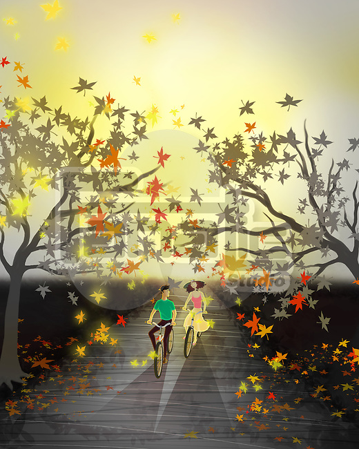 Illustrative image of couple riding bicycles in autumn