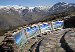 Information panels about the landscape of Sierra Nevada Mountains in the High Alpujarras, Hoya del Portillo, near Capileira, Granada Province, Spain