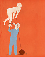 Person releasing nude man from ball and chain ExclusiveImage