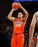 Clemson forward K.J. McDaniels (32) shoots the ball during the game against Virginia Thursday in Charlottesville, VA.