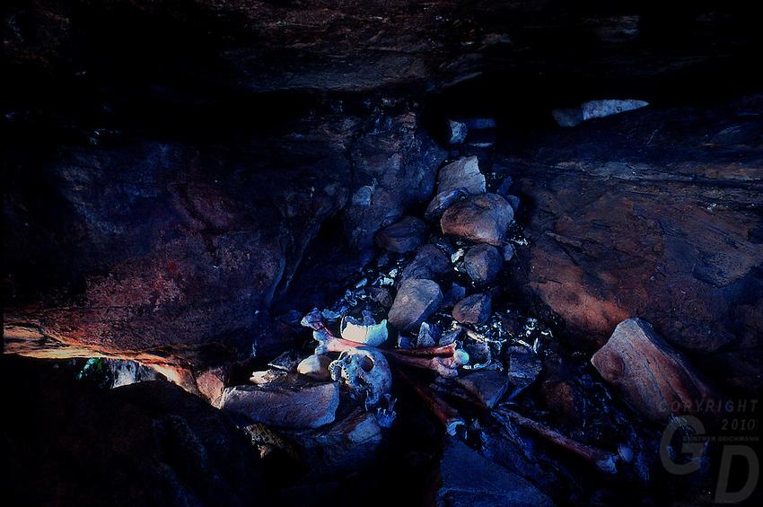 Aboriginal Burial Cave deep in Arnhem Land, Northern Territory, Australia