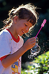 Blowing Soap Bubbles Summertime Fun