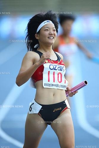Anna Doi (Asaka-Daiichi), .AUGUST 24, 2009 - Athletics : .36th National Junior High School Athletics Championships Women's 4x100m Relay at Oita Kyushu Sekiyu Dome in Oita, Japan. (Photo by Daiju Kitamura/AFLO SPORT)