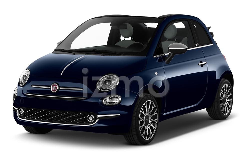 2020 Fiat 500C-HYBRID S8-Star 2 Door Convertible Angular Front automotive stock photos of front three quarter view