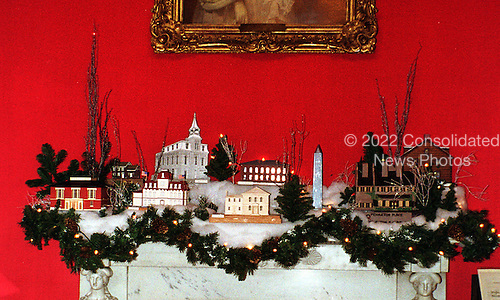 "Resting on the mantel in the Red Room at the White House in Washington, D.C. on December 6, 1999 is another winter vignette paying tribute to ""Save America's Treasures""..Credit: Ron Sachs / CNP"