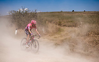Michael Woods (CAN/EF Education First) eating dust<br /> <br /> 14th Strade Bianche 2020<br /> Siena > Siena: 184km (ITALY)<br /> <br /> delayed 2020 (summer!) edition because of the Covid19 pandemic > 1st post-Covid19 World Tour race after all races worldwide were cancelled in march 2020 by the UCI