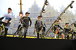Mitchelton-Scott presented on stage at the team presentation in Antwerp before the start of the 2019 Ronde Van Vlaanderen 270km from Antwerp to Oudenaarde, Belgium. 7th April 2019.<br /> Picture: Eoin Clarke | Cyclefile<br /> <br /> All photos usage must carry mandatory copyright credit (&copy; Cyclefile | Eoin Clarke)