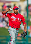 11 March 2016: Philadelphia Phillies pitcher Gregory Infante makes a play to first during a Spring Training pre-season game against the Atlanta Braves at Champion Stadium in the ESPN Wide World of Sports Complex in Kissimmee, Florida. The Phillies defeated the Braves 9-2 in Grapefruit League play. Mandatory Credit: Ed Wolfstein Photo *** RAW (NEF) Image File Available ***