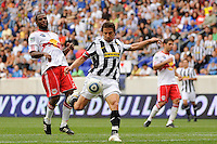 Alessandro Del Piero (10) of Juventus F. C. takes a shot. The New York Red Bulls defeated Juventus F. C. 3-1 during a friendly at Red Bull Arena in Harrison, NJ, on May 23, 2010.