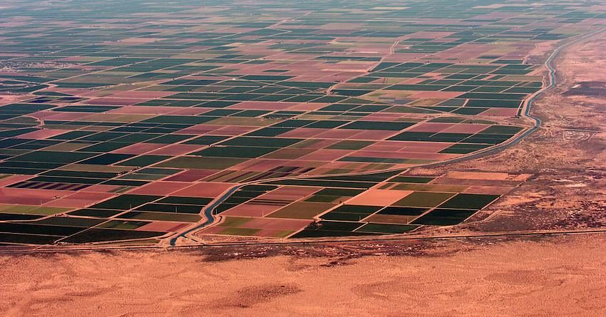 California Imperial Valley is a rich and over worked piece of land based on the replenishing qualities of the Colorado River. Note the fields stop at the border. (foreground)