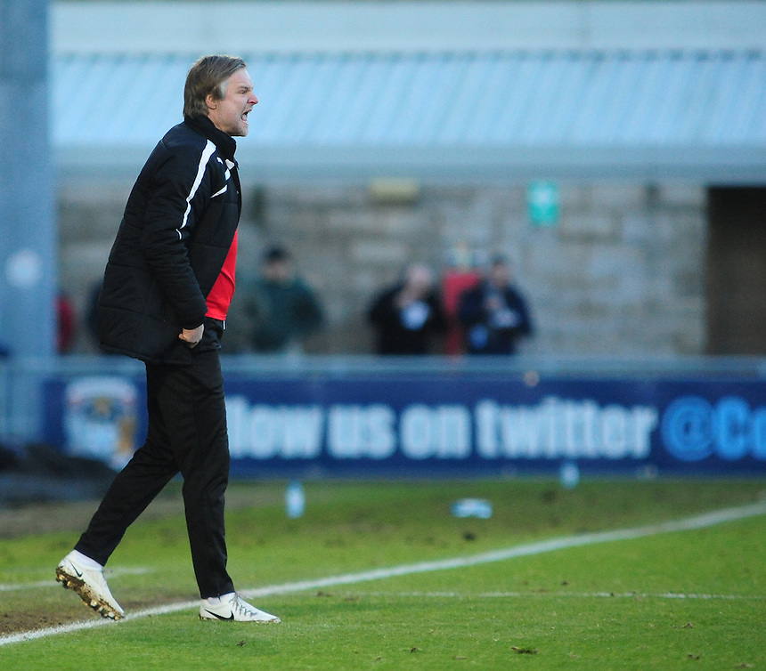 Coventry City's Manager Steven Pressley <br /> <br /> Photo by Chris Vaughan/CameraSport<br /> <br /> Football - The Football League Sky Bet League One - Coventry City v Oldham Athletic - Sunday 29th December 2013 - Sixfields Stadium - Northampton<br /> <br /> &copy; CameraSport - 43 Linden Ave. Countesthorpe. Leicester. England. LE8 5PG - Tel: +44 (0) 116 277 4147 - admin@camerasport.com - www.camerasport.com