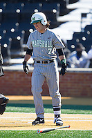 Chase Vogelbach (7) of the Marshall Thundering Herd grimaces after being hit by a pitch against the Georgetown Hoyas at Wake Forest Baseball Park on February 15, 2014 in Winston-Salem, North Carolina.  The Thundering Herd defeated the Hoyas 5-1.  (Brian Westerholt/Four Seam Images)